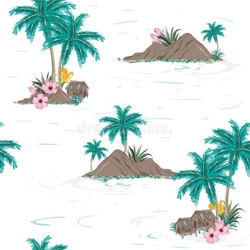 Härlig sömlös tropisk ömodell på vit bakgrund royaltyfri illustrationer