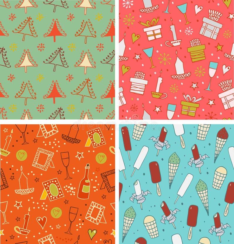 Härlig samling av vintermodeller stock illustrationer