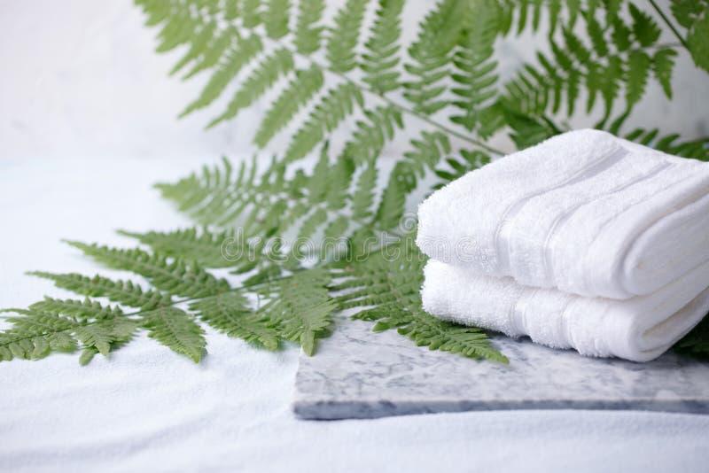 Härlig sammansättning av brunnsortbehandling med vita bomullshanddukar marmorerar på plattan, och ormbunkefilialer, den minsta br arkivbild