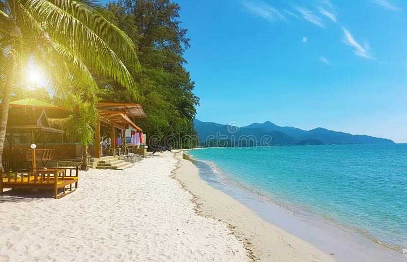Härlig sandig strand royaltyfri fotografi