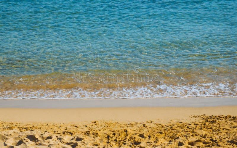 H?rlig sandig strand - f?rbluffa bl?tt vatten - tom strand arkivbild