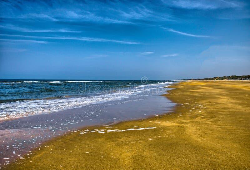 Härlig sandstrand med vågor, Nordsjön, Zandvoort nära Amste royaltyfri bild