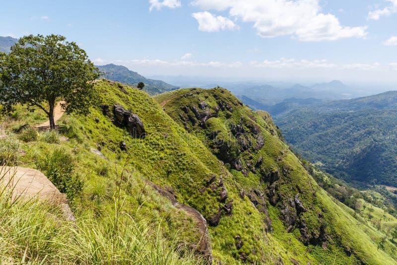 härlig scenisk sikt av berg som täckas med gröna växter och molnig himmel, Asien arkivbild
