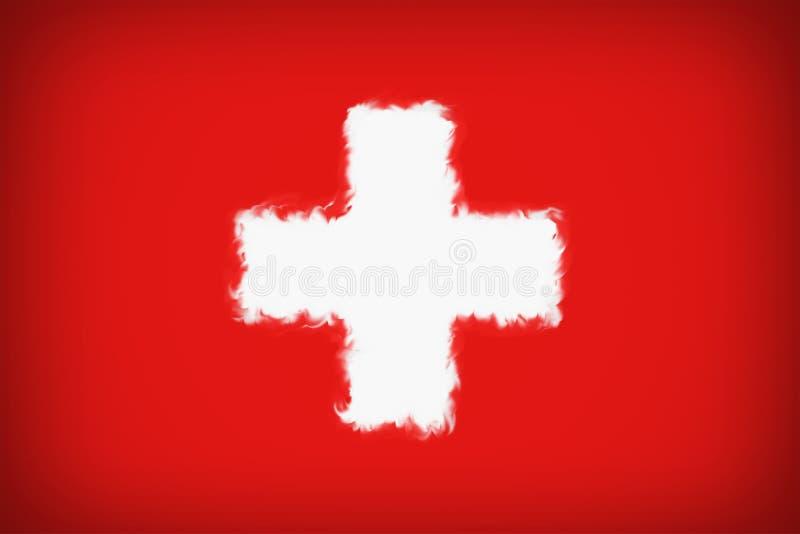 Härlig Schweiz flagga stock illustrationer