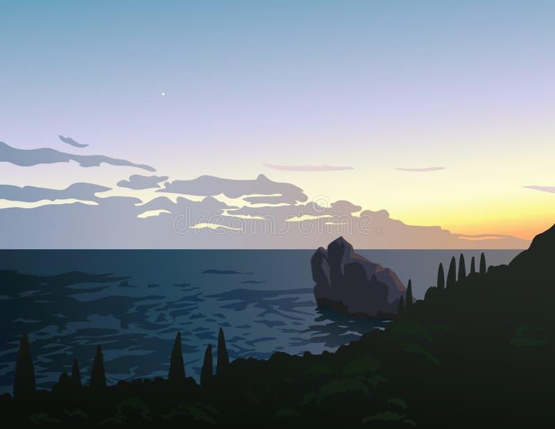 härlig seascapesommar för bild 3d Solnedgång Sikten av kustlinjen in i havet skäller med stenön Första lilla stjärna i stock illustrationer