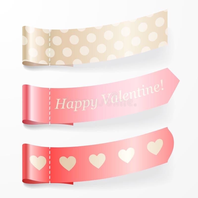 Härlig set av valentinpinkband. royaltyfri illustrationer