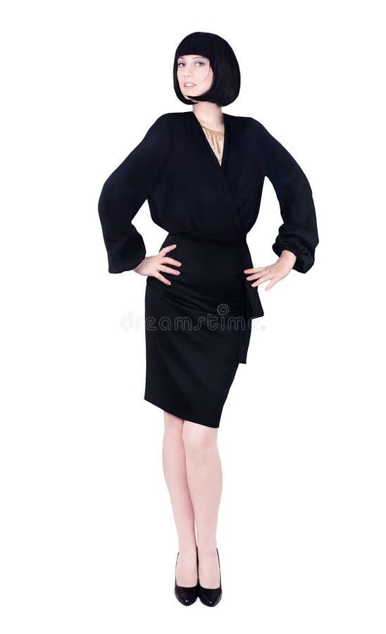 Härlig sexig affärskvinna i svart royaltyfri bild