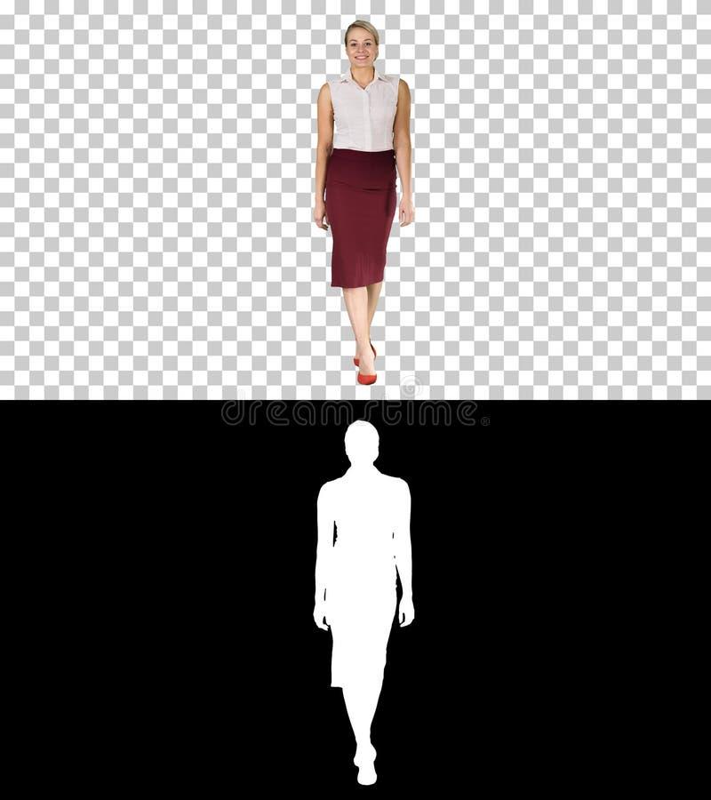 Härlig sexig kläder för mode för stil för kontor för brunettkvinnaaffär som går och ler till kameran, Alpha Channel arkivbilder
