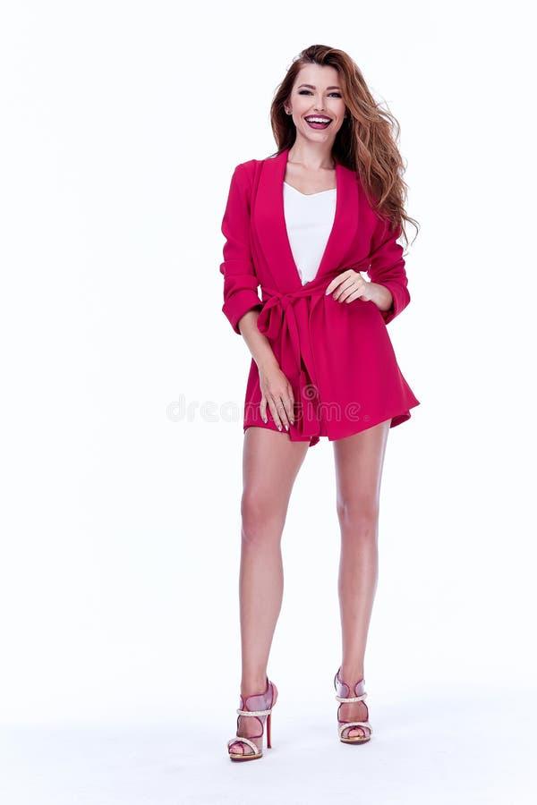 Härlig sexig koagulering för mode för stil för kontor för brunettkvinnaaffär royaltyfri bild