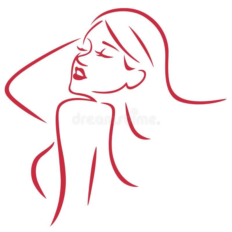 Härlig sexig kvinna enkla Art Line Vector vektor illustrationer