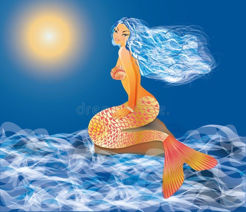 Härlig sexig sjöjungfru stock illustrationer
