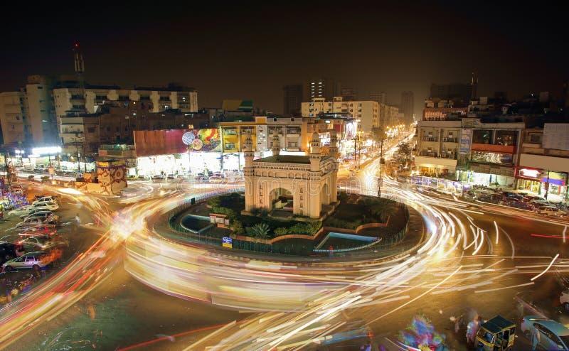 Härlig sikt av Bahadurabad Chorangi, Karachi, Pakistan arkivbilder