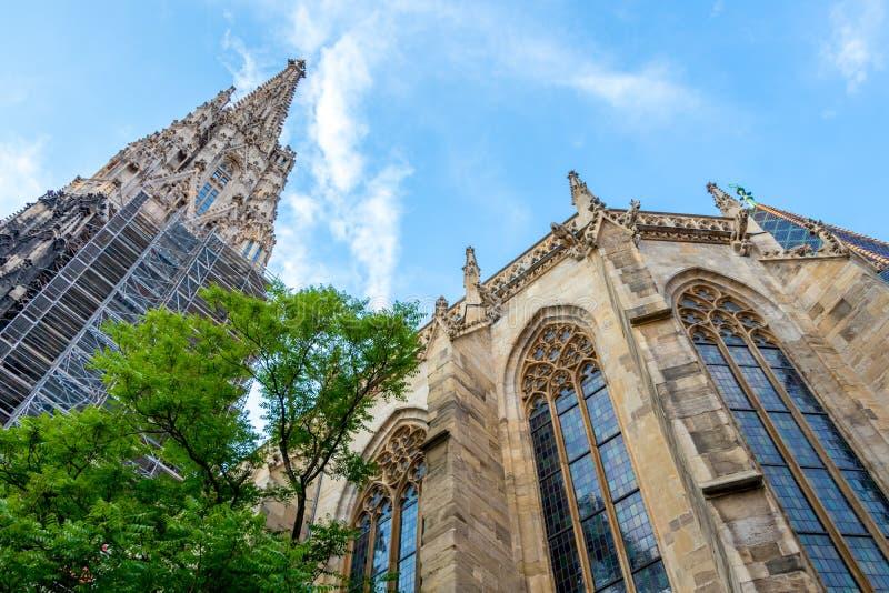 Härlig sikt av den berömda domkyrkan för St Stephen ` s i Wien, Österrike arkivbilder