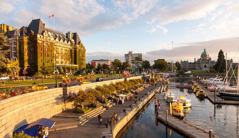 Härlig sikt av den inre hamnen i Victoria, British Columbia, KANADA royaltyfri bild