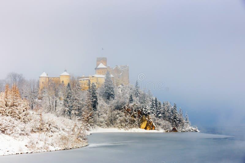Härlig sikt av den Niedzica slotten arkivbilder