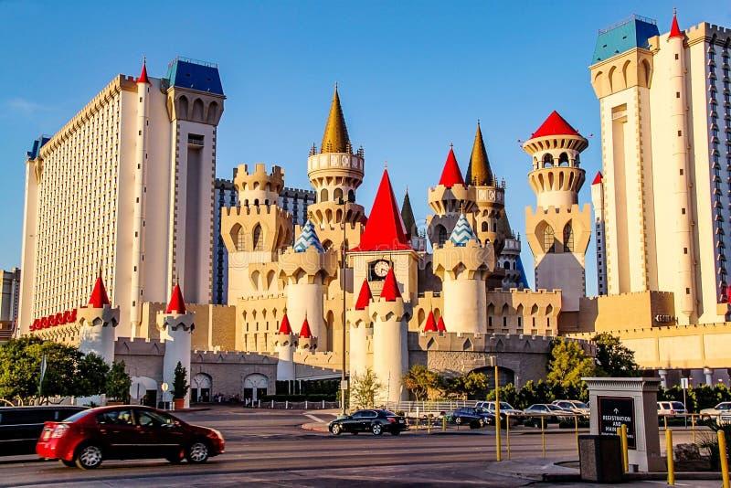 H?rlig sikt av det ber?mda den Excalibur hotellet och kasinot i Las Vegas, Nevada royaltyfri fotografi