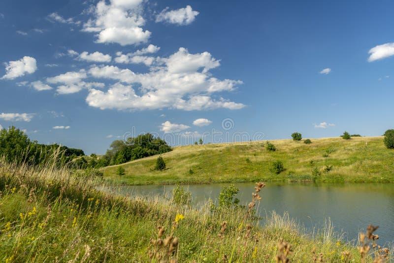 Härlig sikt av floden, gröna träd, kullar och blå molnig himmel SOMMAREN landskap royaltyfri bild