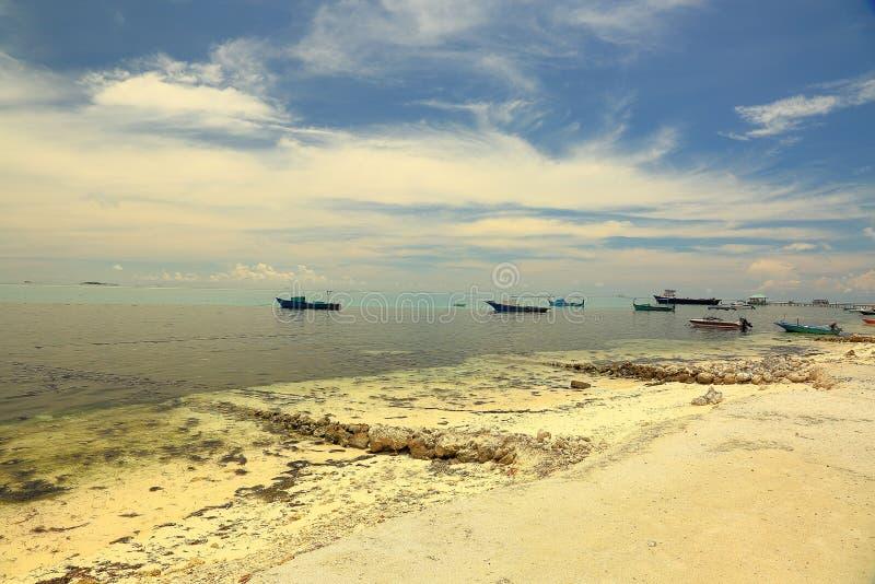 Härlig sikt av kustlinjen, Indiska oceanen, Maldiverna Vit faraway sandkust, mörk vattensurfase, flera skepp och fartyg royaltyfri fotografi