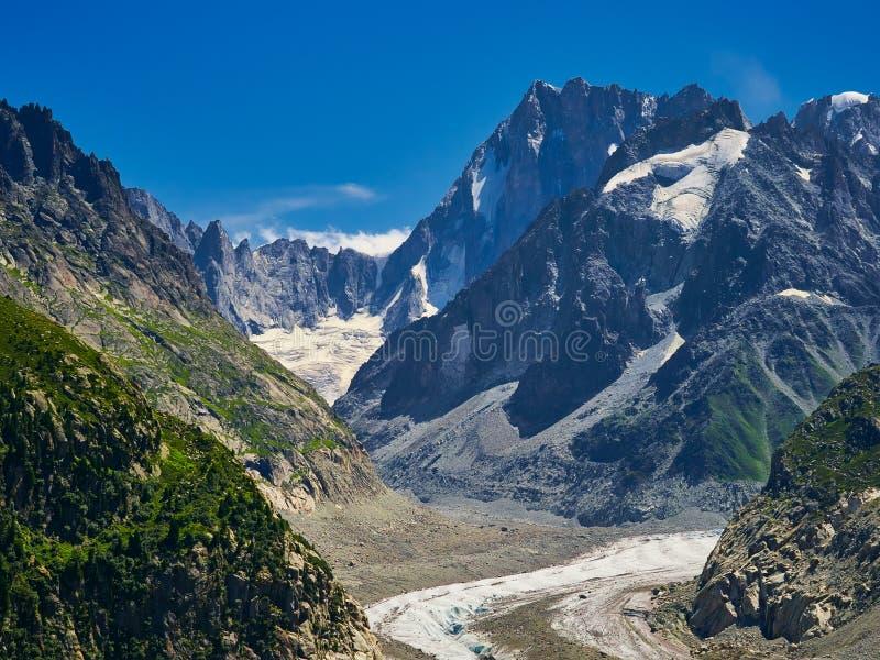 Härlig sikt av Mer De Glace Glaciär - Mont Blanc Massif, Chamonix, Frankrike fotografering för bildbyråer