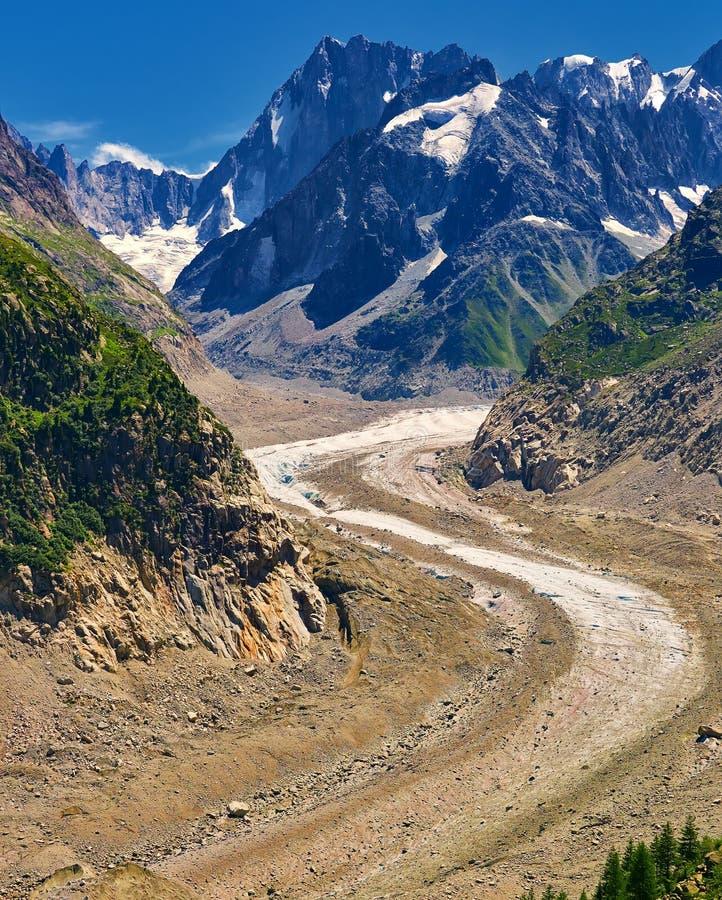 Härlig sikt av Mer De Glace Glaciär - Mont Blanc Massif, Chamonix, Frankrike arkivbild