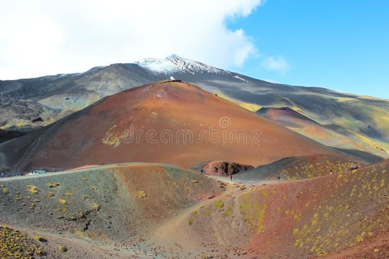 H?rlig sikt av Mount Etna och n?rgr?nsande Silvestri krater, Sicilien, Italien Den Etna vulkan och dess vulkaniska landskap ?r et royaltyfri fotografi