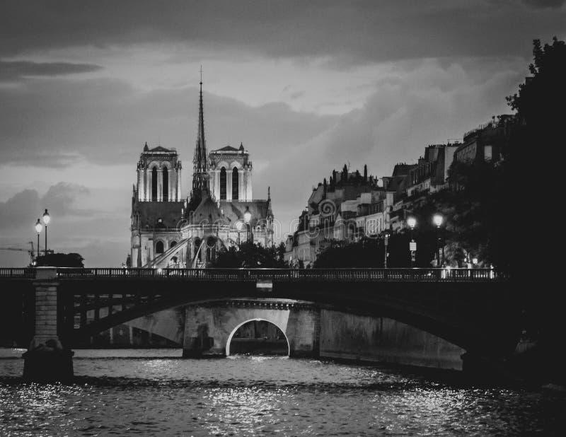 Härlig sikt av Notren Dame Cathedral från floden arkivfoton