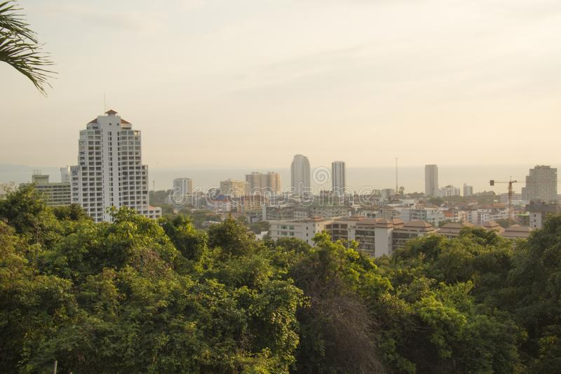 Härlig sikt av panoraman av Pattaya, Thailand royaltyfri bild