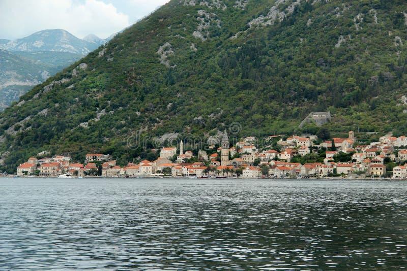 Härlig sikt av Perast, Montenegro arkivbilder