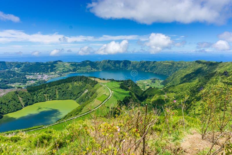 Härlig sikt av sju stad sjön royaltyfri foto