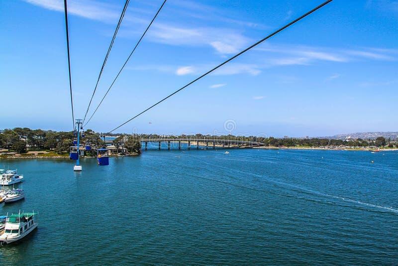 Härlig sikt av vägen för kabelbil över Stilla havet Havsvärld av San Diego USA Härliga bakgrunder arkivfoto