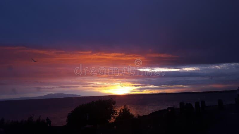 Härlig sikt för solnedgånghavlandskap arkivfoto