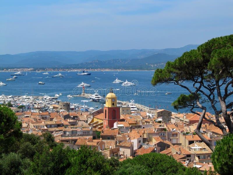 Härlig sikt från citadellen av Saint Tropez, Frankrike royaltyfria foton