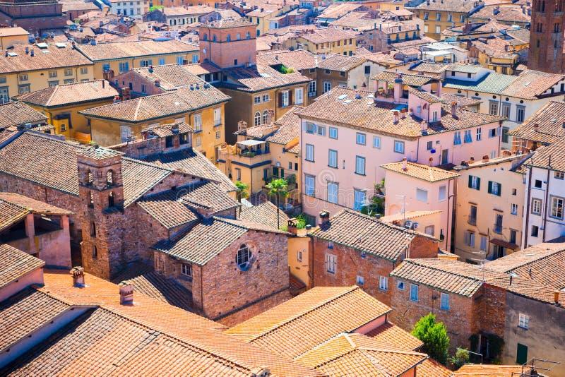Härlig sikt från taket av forntida gamla byggnader med röda tak i Lucca, Italien arkivfoto