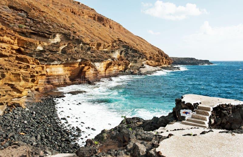 Härlig sikt på Costa del Silencio, Tenerife, Spanien, arkivbild