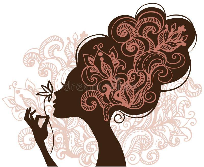 härlig silhouettekvinna vektor illustrationer