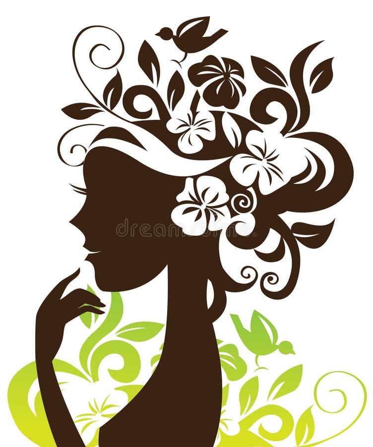 härlig silhouettekvinna stock illustrationer