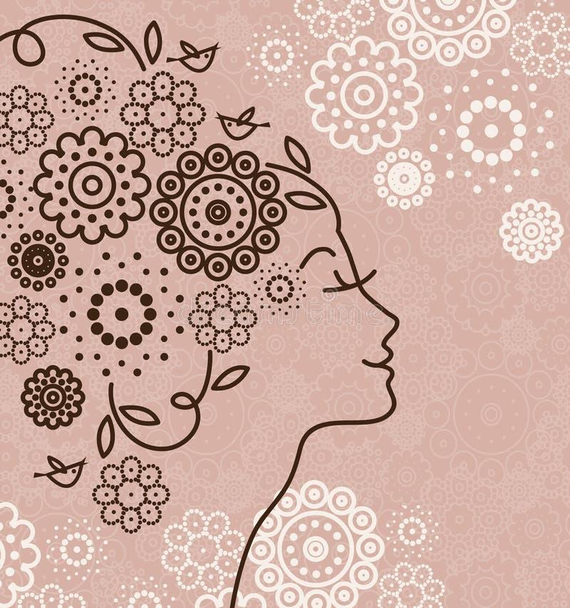 härlig silhouettekvinna royaltyfri illustrationer