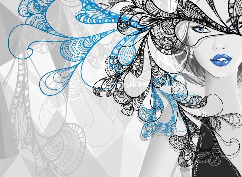 Härlig silverflicka med klotterabstrakt begreppmaskeringen vektor illustrationer