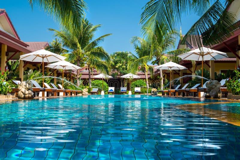 Härlig simbassäng i den tropiska semesterorten, Phuket, Thailand royaltyfri foto