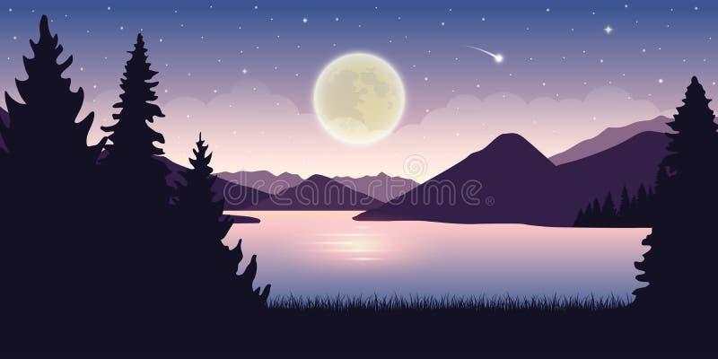 Härlig sjö på natten med fullmånen och stjärnklart himmelmystikerlandskap stock illustrationer