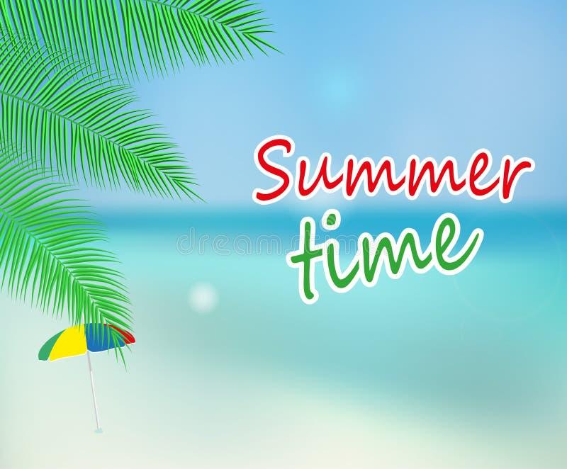 Härlig sjösidasikt med palmblad och stranden lycklig din feriesommar för familj vektor stock illustrationer