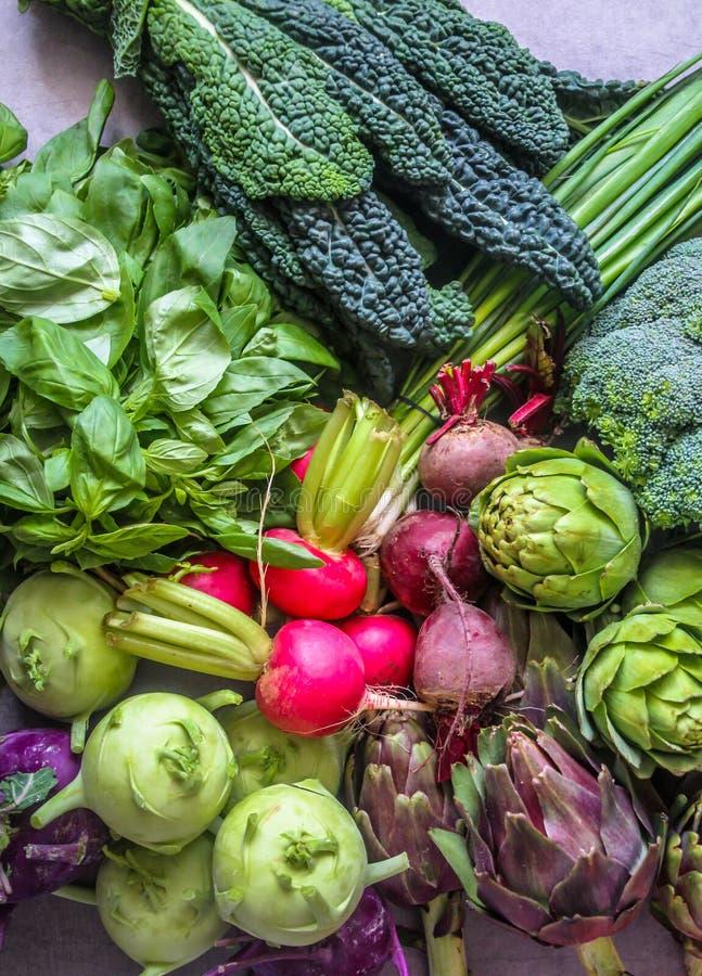 Härlig skärm av nya och sunda valda grönsaker royaltyfri foto