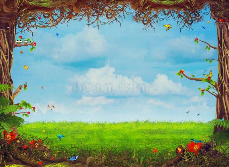 Härlig skogsmarkplats med träd, gräs, fjärilar och moln royaltyfri illustrationer