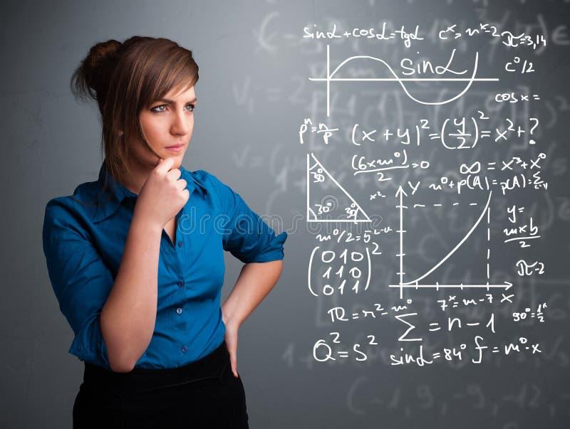 Härlig skolaflicka som tänker om komplext matematiskt tecken vektor illustrationer