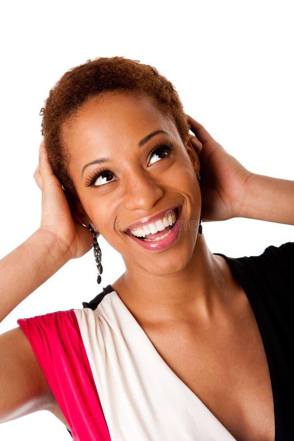 Härlig skratta afrikansk affärskvinna arkivfoto