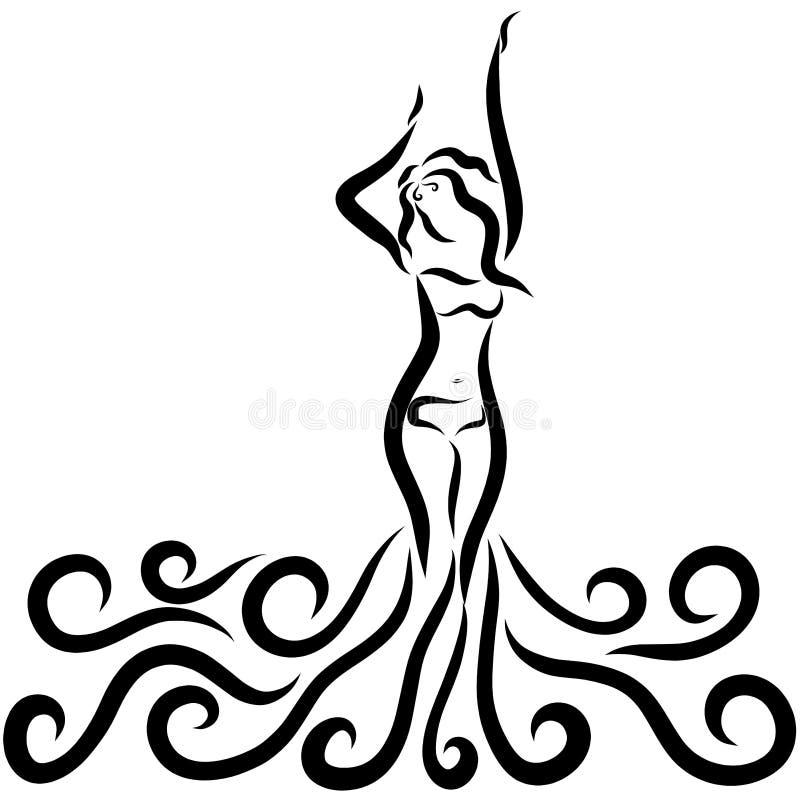 Härlig slank dam i en bikini och lockiga vågor stock illustrationer