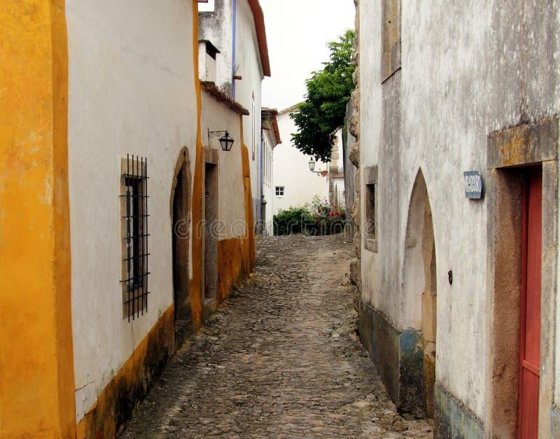 Härlig smal walled gata i Obidos, Portugal royaltyfri bild