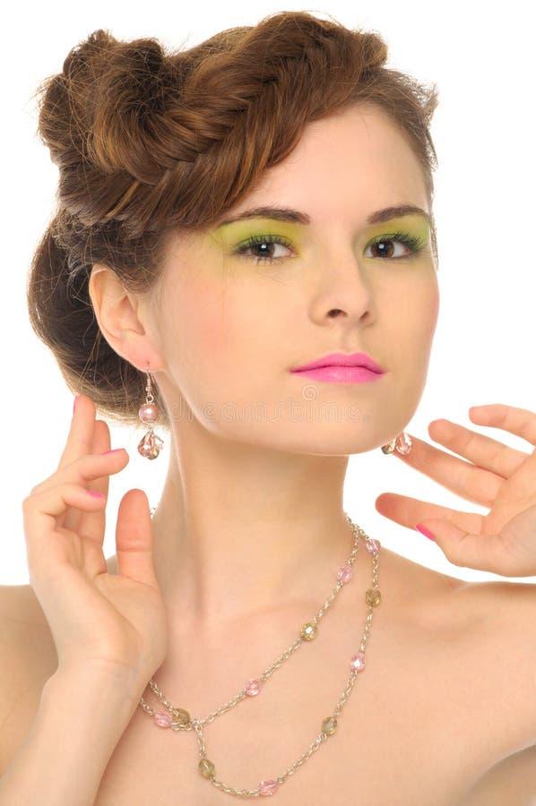härlig smyckenkvinna fotografering för bildbyråer