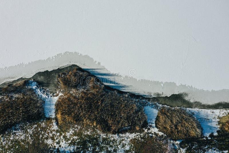 Härlig snöig stenig kulle med en klar vit himmel arkivfoto
