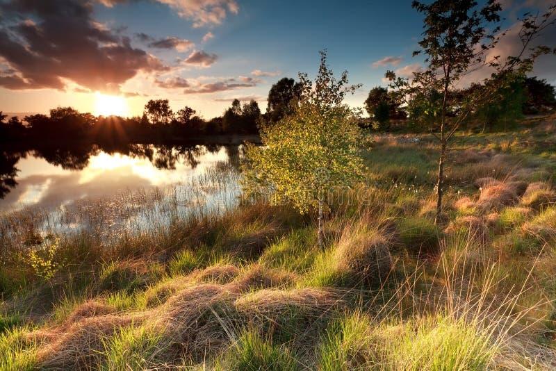 Härlig solnedgång över den lösa sjön royaltyfria foton